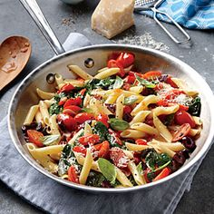 Grape Tomato, Olive, and Spinach Pasta Recipe | CookingLight.com #myplate, #vegetables, #wholegrain