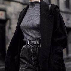 Black wool coats and charcoal turtle necks