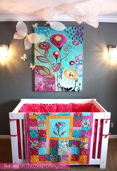 Girls nursery..... adore the bright colours.