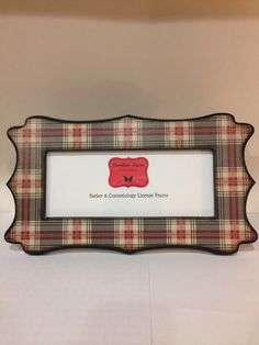 barber cosmetology license frame in navy blue red tan plaid fits 8 12x 3 58 business certification