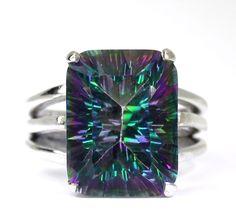 Cushion Cut Mystic Topaz Gemstone Sterling Silver Ring size 7.25