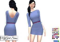 Three Quarter Sleeve Belted Mini Dress at NyGirl Sims via Sims 4 Updates Free Sims 4, Sims 4 Cc Kids Clothing, Sims 4 Mm Cc, Sims 4 Update, Sims 4 Custom Content, Dresses For Work, Female, Clothes For Women, Quarter Sleeve