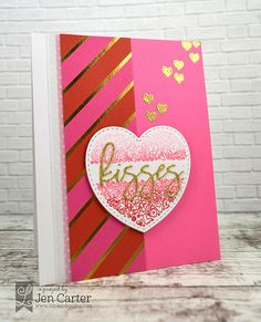 Jen Carter, card, Filled Hearts, Kisses, Valentine's, ombre, Lil' Inker Designs, LID