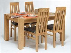 Essgruppe 140/185x80 mit 4 Stühlen ausziehbar Lucerne Eiche massiv Holz Moebel Esszimmer Tisch