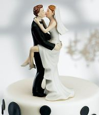 Passionate Kissing Couple Groom Holding Bride Wedding Cake Topper Top