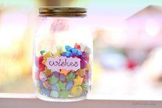 wish jar. take a strip of paper, write down a wish then turn it into a lucky star and put in decorated mason or glass jar.