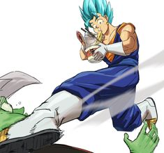 """timinator-art: """" Had to sketch Vegito as soon as his trailer came out! His sassy kick gives him liberty to do other stuff while fighting. Dragon Ball Z, Dragon Ball Image, Vegeta Ssj Blue, Manga Anime, Anime Art, Manga Girl, Anime Girls, Gogeta And Vegito, Dbz Memes"""