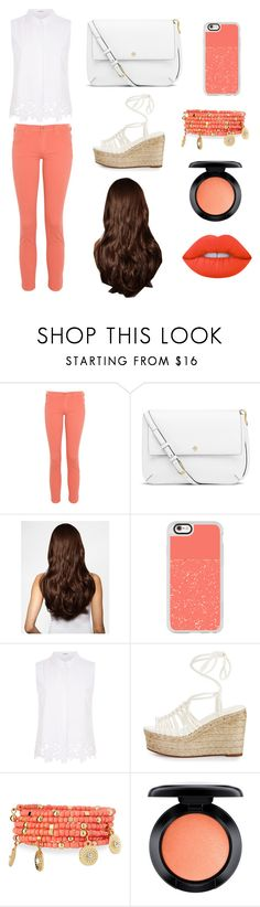 """""""Peach Sensation"""" by lfrye2080 ❤ liked on Polyvore featuring James Jeans, Tory Burch, Hershesons, Casetify, Elie Tahari, Chloé, Emily & Ashley, MAC Cosmetics and Lime Crime"""