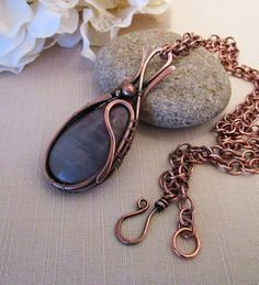 Wire Wrapped Pendant  Copper Jewelry Statement Necklace  Valentine's Day gift Fearless Creations Wire Weaving Hammered Copper Necklace