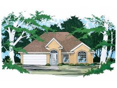 Cottage Style 1 story 3 bedrooms(s) House Plan with 1196 total square feet and 2 Full Bathroom(s) from Dream Home Source House Plans