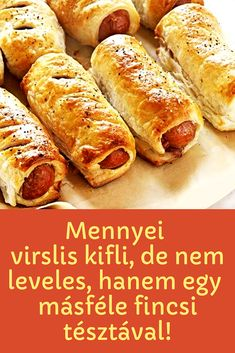 Teljesen más isteni tésztával! #tészta #kifli #virslis Meat Recipes, Cooking Recipes, Non Plus Ultra, Ciabatta, Hot Dog Buns, Baked Goods, Bacon, Bakery, Easy Meals