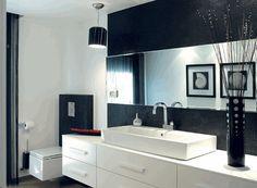 Bathroom, Enchanting White Modern Sink Cabinet And Black Backsplash Ideas For Elegant Bathroom Design: Modern Bathroom Sink Cabinet for Minimalist Bathroom Design Ideas Small Bathroom Interior, Modern Bathroom Mirrors, Bathroom Furniture, Mirror Bathroom, White Bathroom, Bathroom Towels, Italian Bathroom, 1950s Bathroom, Bathroom Bin