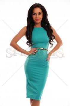Rochie PrettyGirl Famous Glam Green vara-toamna