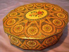 Vintage Carr Co. LTD 12-sided Hinged embossed Biscuit Tin, England #CarrCOLtd