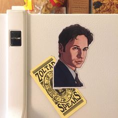 Fox Mulder X-Files Fridge Magnet (£4.80) ❤ liked on Polyvore featuring home, home decor, office accessories, grey, home & living, kitchen & dining, kitchen décor, refrigerator magnets, magnets refrigerator and magnets fridge