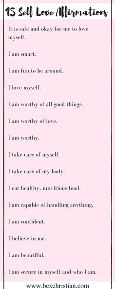 15 Self Love Affirmations - click now for access to a FREE law of attraction and self love resource library, or pin to save for later! http://www.bexchristian.com