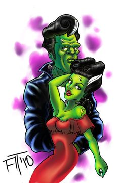 Mr. and Mrs. monster.. rockabilly style.