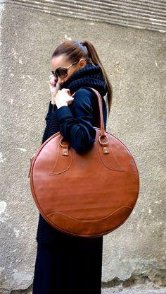 "NEW "" Dark Pumpkin"" Genuine Leather Bag / High Quality  Tote Circle Large Bag / zipper close up /  Unique Bag by AAKASHA A14318"
