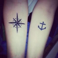 Compass and Anchor Tattoo. Bestfriend tattoo, the anchor represents sinking, meaning your bestfriend can always sink on you, while the compass means direction. The other bestfriend will always be there to guide and help you in the right direction.