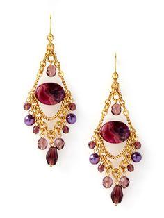 Long Pink Crystal /& Twist Glass Bead Earrings Statement  Drop Boho Prom Bridal