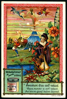 """#1 Liebig's Beef Extract, S667,  """"The Adventures of a Kite""""  (Belgian issue,1901). 