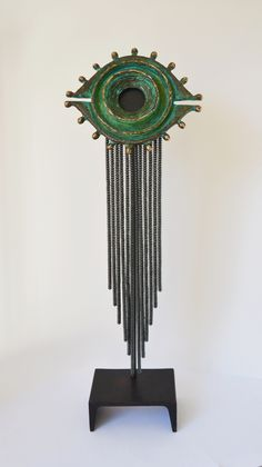 """Cyclopia"" 2015, Created by Daina Ferguson Cast bronze, hematite stone beads, brass, steel, patina, and pigmented wax. 17""h x 5.5""w x3""d Steel Patina, Decorative Metal, Blacksmithing, Stone Beads, Metal Working, Dream Catcher, Sculptures, Wax, Bronze"