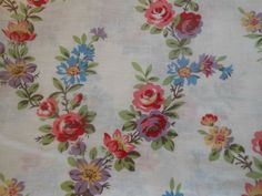 Antique French Cottage Roses Cotton Fabric ~ Lavender Blue Rose Pink Red Green