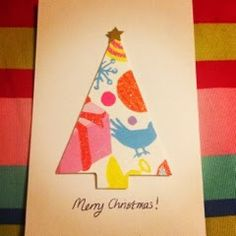 Glittered Pink - Handmade Christmas cards - handmade using recycled Christmas cards- simple to make and cute <3