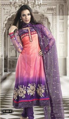 D.No-M903B  Pink and Violet embroidered wedding anarkali kameez intricate with patch work, butta work, floral work, resham thread, sequins and patch patti border.This anarkali kameez is unstitch and length of kameez can be customised upto 42 inches.Customisation includes changing front neck style, back neck style, increasing/reducing the length of sleeves.