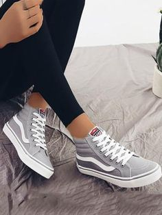 Trendy High Top Canvas Sneakers - Gray (US4.5/US5.5/US6/US7/US8/US8.5) $33.99 #canvas #sneakers #gray