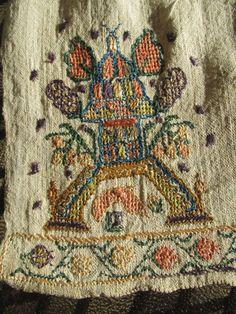 Antique Turkish TOWEL OTTOMAN Silk Metallic Threads EMBROIDERED TEMPLE SHRINE