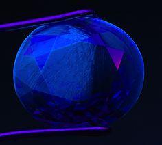 Saphire under  (UV) fluorescence light - Front