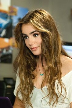 lily Collins honey blonde