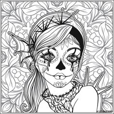 Portrait of a young beautiful girl in Halloween or Day of the Dead coloring page | Adobe Stock
