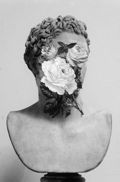 Bust With Flowers Framed Art Print by Chad Wys - Vector Black - Wallpapers Geek, Flower Prints, Flower Art, Victor Hugo, Aesthetic Art, Collage Art, Sculpture Art, Contemporary Art, Modern Art