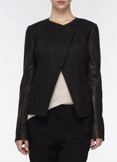 Leather Sleeve Jacket // Vince
