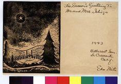 Christmas card, 1943 December 21, Hillcrest Sanitarium, La Crescenta, Calif. to Mr. and Mrs. Arthur Ishigo, Heart Mtn., Wyo — Calisphere Japanese American, Modern Artists, View Source, Christmas Cards, December, Heart, Christmas E Cards, Xmas Cards, Christmas Letters