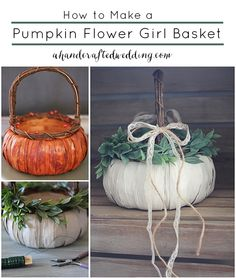 DIY Pumpkin Flower Girl Basket, perfect for a Fall Wedding. #flowergirl #fallwedding {A Handcrafted Wedding}