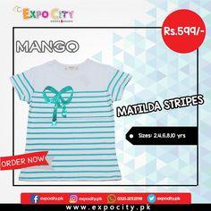 Product: Matilda Stripes  Brand: Mango  Price: Rs. 599  #Children #Girls #Dress #Shirts #Tshirts Tops #Karachi #Lahore #Islamabad #OnlineShopping #ExpoCity #Kids #BabyGirls #CashOnDelivery #Apparel #PartyWear #Pakistan #PakistanShopping #Stylish #Plain #Casual #Colorful #Mango