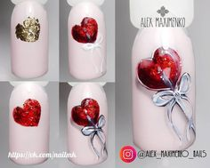 Best fails design holiday valentines Ideas in 2020 3d Nails, Love Nails, Acrylic Nails, Heart Nail Art, Heart Nails, Holiday Nails, Christmas Nails, Valentine Nail Art, Nail Art Techniques