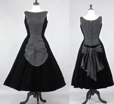 Vintage 50s Dress, 1950s Black Silk Velvet New Look Dress, Suzy Perette Party Dress, LBD by daisyandstella on Etsy