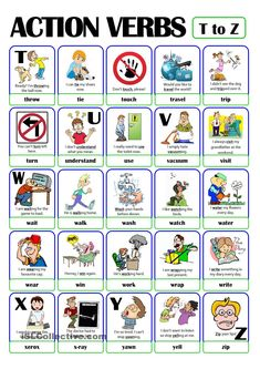 This is the fifth and last worksheet of the ACTION VERB set. It includes verbs from t) to z). Grammar For Kids, Teaching English Grammar, Grammar And Vocabulary, English Language Learning, English Vocabulary, Speech And Language, Grammar Rules, Vocabulary Games, French Language
