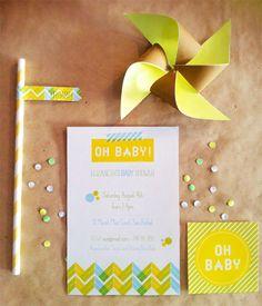 Washi Tape Baby Shower Invites