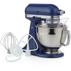Crate & Barrel KitchenAid ® Artisan Blue Willow Stand Mixer featuring polyvore, home, kitchen & dining, small appliances, kitchen aid mixer, kitchenaid mixer, spiral mixer, kitchen aid small appliances and kitchen aid standing mixer