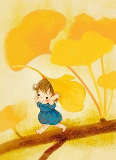Ginko leaves and little girl.