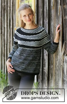 Fading Circles / DROPS - Free Knitting Patterns by DROPS Design : Fading Circles / DROPS – Knitted sweater with round yoke in DROPS fable. The work is knitted from top to bottom with garter streaks, stripes and shortened rows. Size S – XXXL. Baby Knitting Patterns, Knitting Stitches, Free Knitting, Crochet Patterns, Crochet Pullover Pattern, Jumper Knitting Pattern, Jumper Patterns, Knit Crochet, Drops Design