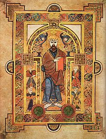 A page from the Book of Kells, an illuminated manuscript created in the British Isles in the late 8th or early 9th century[