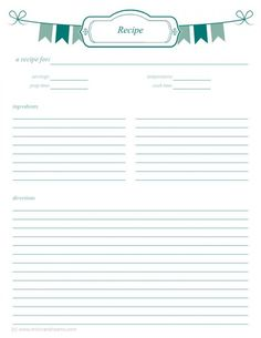 free printable recipe template diy recipe book a4 recipe books