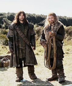 The models of Erebor, striking poses on the road.