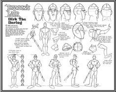 Dragon's Lair Dirk Model sheet - The Art of Don Bluth Animation ©  Blog/Website | (www.donbluthanimation.com)  • Online Store | (www.donbluthanimation.com/index.php?act=viewCat) ★ || Please support the artists and studios featured here by buying this and other artworks in their official online stores • Find more artists at www.facebook.com/CharacterDesignReferences  and www.pinterest.com/characterdesigh and learn more about #concept #art #animation #anime #comics || ★